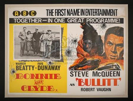 BULLITT (1968) / BONNIE AND CLYDE (1967) - Quad Poster (c' 1969)