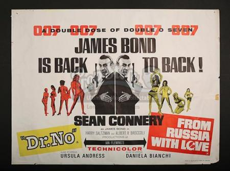 JAMES BOND: DR. NO (1962) / FROM RUSSIA WITH LOVE (1963) - UK Quad Poster (c' 1965)