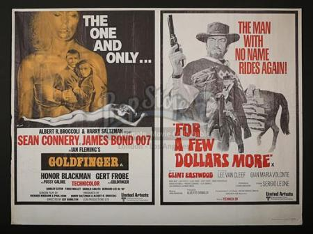 JAMES BOND: GOLDFINGER (1964) / FOR A FEW DOLLARS MORE (1965) - UK Quad Poster (1969)