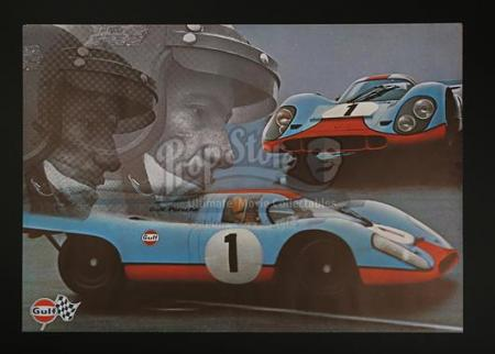 GULF PORSCHE 917 GULF OIL (1971) - Gulf Porsche 917 Gulf Oil Promo Poster (c' 1971)