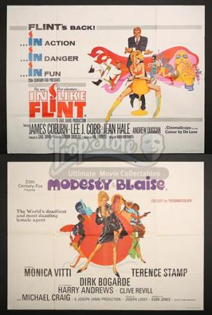 MODESTY BLAISE (1966) / IN LIKE FLINT (1967) - UK Quad Posters (1966 & 1967)