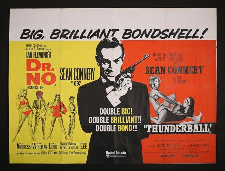 JAMES BOND: DR NO (1962) / THUNDERBALL (1965) - UK Quad Poster