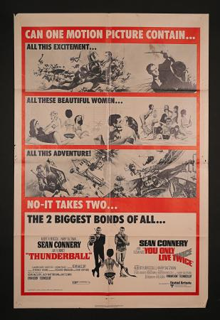 JAMES BOND: THUNDERBALL / YOU ONLY LIVE TWICE (1965 AND 1967) - US One-Sheet Poster
