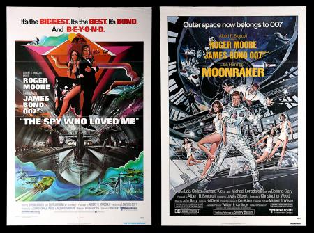 JAMES BOND: MOONRAKER (1979) AND THE SPY WHO LOVED ME (1977) - Two US One-Sheet Posters