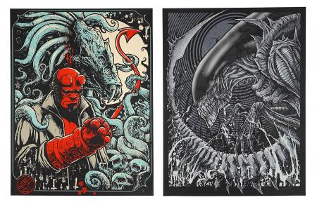 HELLBOY (2004) AND ALIEN VS PREDATOR (2004) - Two Godmachine Posters