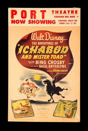 THE ADVENTURES OF ICHABOD AND MR. TOAD (1949) - US Window Card